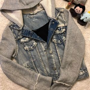 Two Tone Cropped Jean Jacket with Hoodie